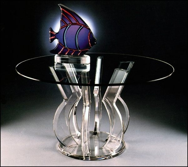 Tables: A Round Acrylic Dining Table With An Interesting Base Inside Acrylic Round Dining Tables (View 9 of 25)