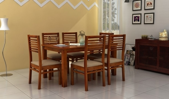 Tables Chairs – Florin 6 Seater Dining Table With Chairs | Wooden Street Within Cheap 6 Seater Dining Tables And Chairs (View 12 of 25)