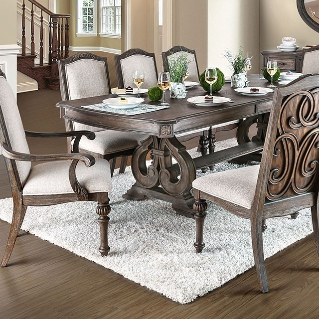 Tables, Chairs, & Servers – Hello Furniture Inside Jaxon 7 Piece Rectangle Dining Sets With Upholstered Chairs (View 19 of 25)