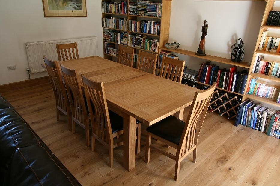 Tallinn Oak Dining Sets | Solid Oak Dining Table Sets In Oak Extending Dining Tables And 8 Chairs (Image 24 of 25)