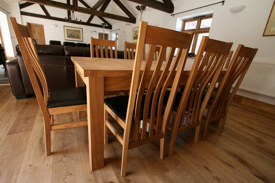 Tallinn Oak Dining Sets | Solid Oak Dining Table Sets Intended For Oak Extending Dining Tables And 8 Chairs (Image 25 of 25)
