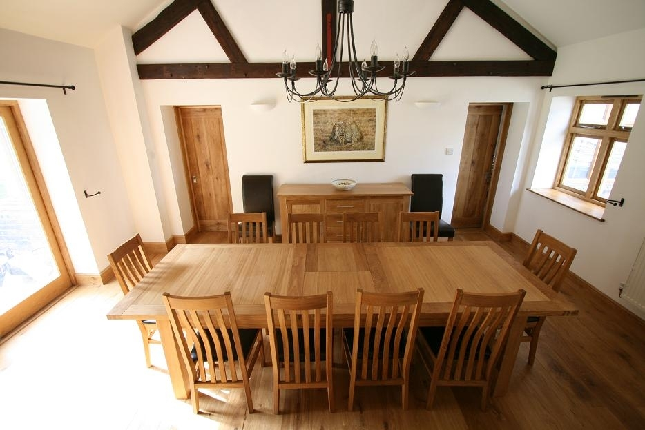 Tallinn Oak Dining Sets | Solid Oak Dining Table Sets Regarding Oak Dining Tables And Leather Chairs (Image 20 of 25)