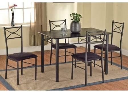 Target Marketing Systems 5 Piece Metal Dining Set, Black | Chuma Intended For Market 6 Piece Dining Sets With Side Chairs (Image 22 of 25)