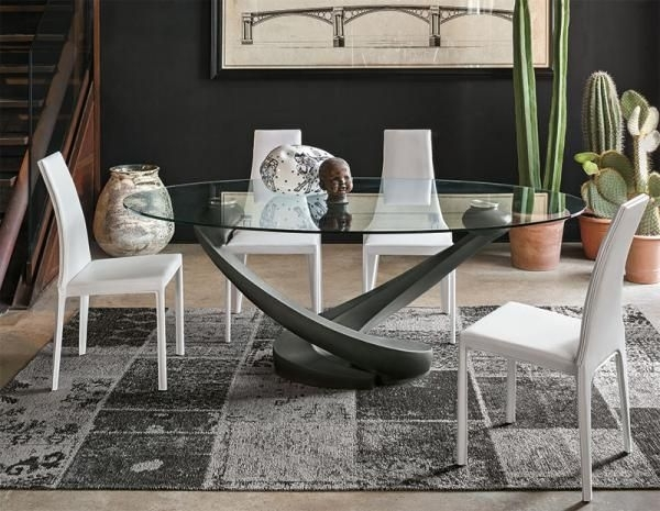 Target Point Contemporary Tango Glass Oval Dining Table | New Home Pertaining To Contemporary Base Dining Tables (Image 25 of 25)