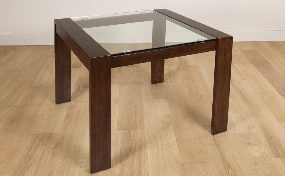 Tate Dark Wood And Glass Square Dining Table 90X90Cm Only £ (View 16 of 25)