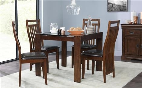 Tate Dark Wood And Glass Square Dining Table With 4 Java Chairs For Dark Wood Square Dining Tables (Image 25 of 25)