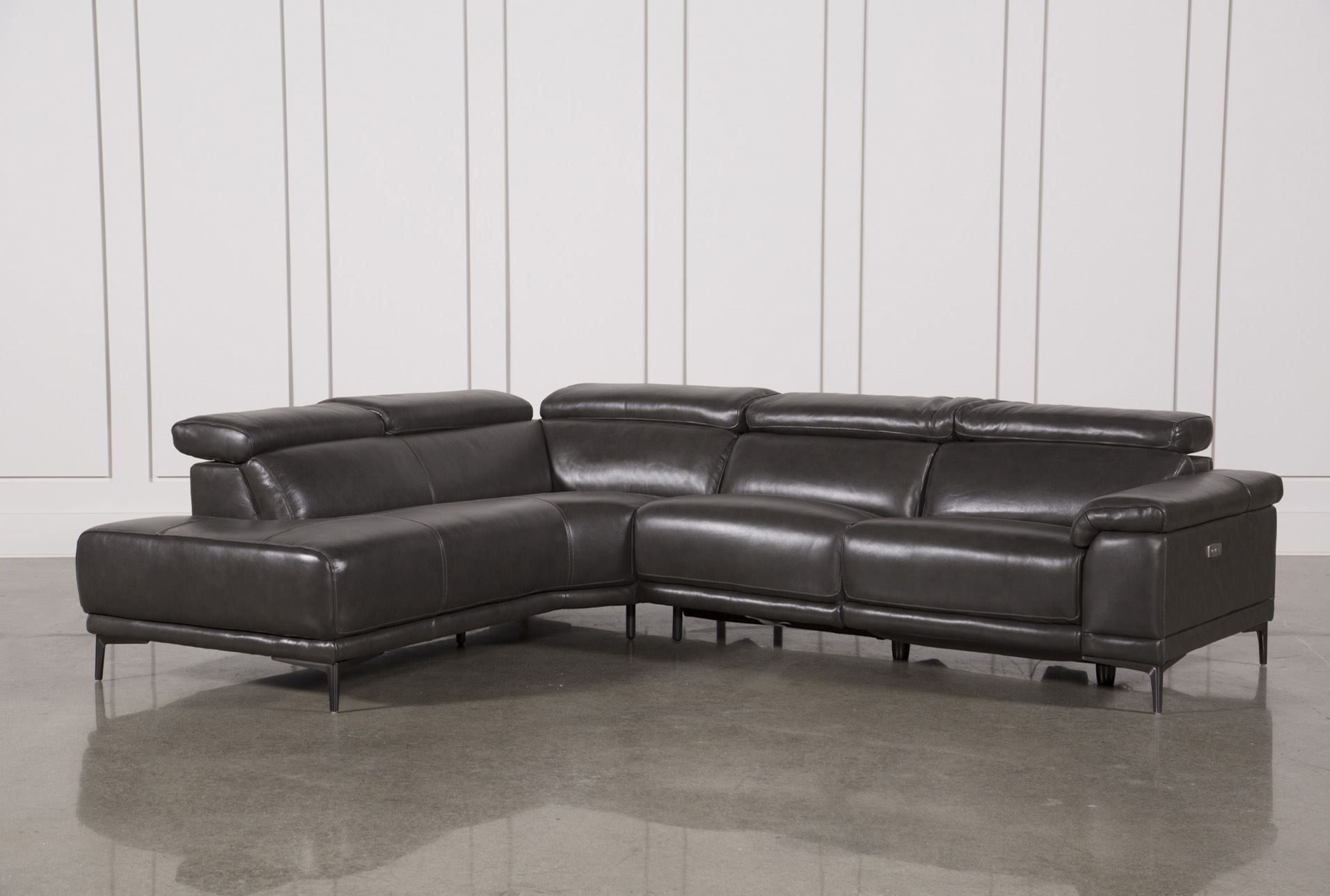 Tatum Dark Grey 2 Piece Sectional W/laf Chaise | Living Room Pertaining To Marcus Chocolate 6 Piece Sectionals With Power Headrest And Usb (Image 25 of 25)