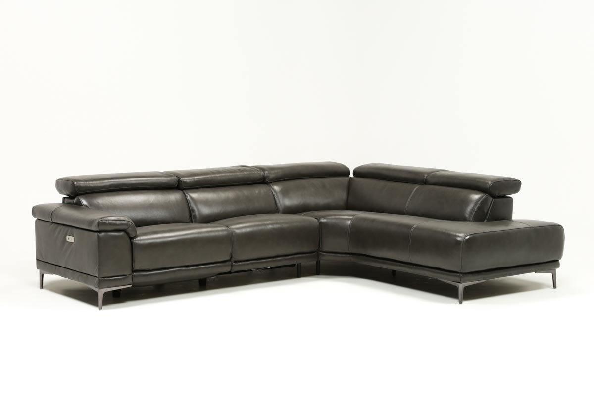 Tatum Dark Grey 2 Piece Sectional W/raf Chaise | Living Spaces Throughout Tess 2 Piece Power Reclining Sectionals With Laf Chaise (Image 21 of 25)