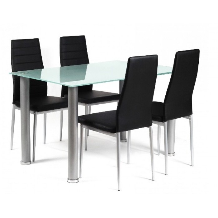 Tatum Frosted Glass Dining Table + 4 Chairs Inside Smoked Glass Dining Tables And Chairs (Image 22 of 25)