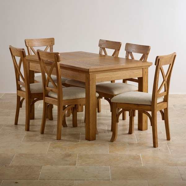 Taunton Rustic Brushed Solid Oak Dining Set – 4Ft Extending Dining In Solid Oak Dining Tables And 6 Chairs (View 14 of 25)