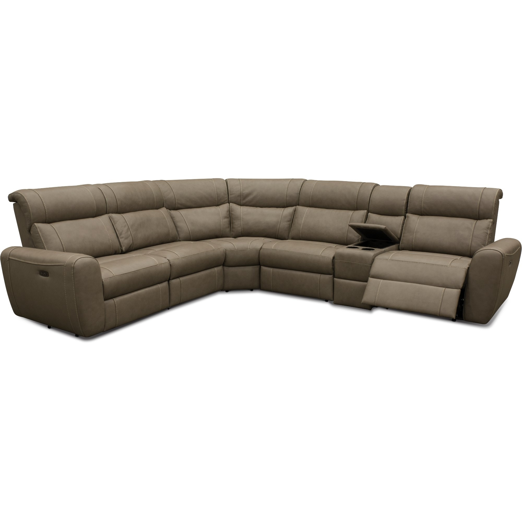 Taupe Leather Match 6 Piece Power Sectional Sofa – Robert | Rc Pertaining To Denali Charcoal Grey 6 Piece Reclining Sectionals With 2 Power Headrests (Image 25 of 25)