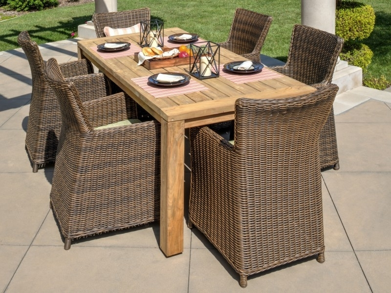 Teak Outdoor Dining Set | Vienna 7 Piece Dining Set Throughout Valencia 72 Inch 7 Piece Dining Sets (Image 21 of 25)