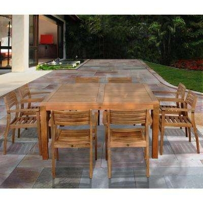 Teak – Patio Dining Furniture – Patio Furniture – The Home Depot Regarding Outdoor Brasilia Teak High Dining Tables (View 9 of 25)