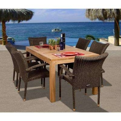 Teak – Patio Dining Furniture – Patio Furniture – The Home Depot Within Outdoor Brasilia Teak High Dining Tables (Image 23 of 25)