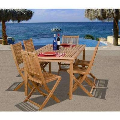 Teak – Patio Dining Sets – Patio Dining Furniture – The Home Depot Inside Outdoor Brasilia Teak High Dining Tables (View 10 of 25)
