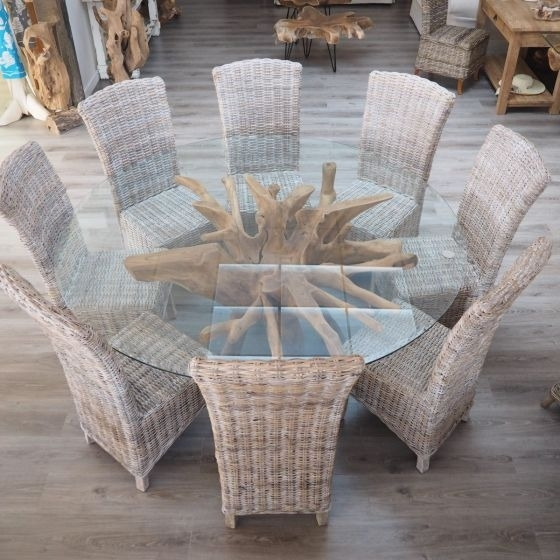 Teak Root Dining Table Set With 8 Wicker Chairs – 180Cm Glass – 3 Pertaining To Wicker And Glass Dining Tables (Image 20 of 25)