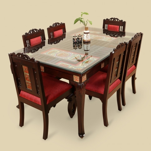 Teak Wood 6 Seater Dining Table & Chair With Warli & Dhokra Work Within Six Seater Dining Tables (Image 24 of 25)