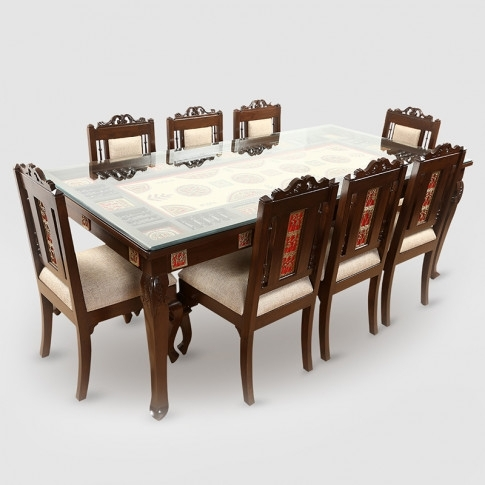 Teak Wood 8 Seater Dining Table In Warli & Dhokra Work With 8 Dining Tables (Image 23 of 25)