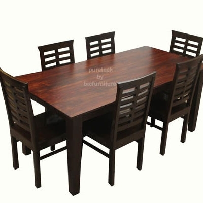 Teak Wood Dining Set In Pure Teak Wood (Tws 15) Details | Bic Regarding Wood Dining Tables And 6 Chairs (Image 24 of 25)
