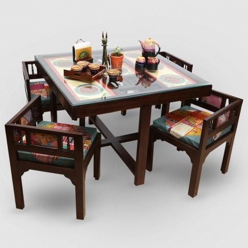 "Teak Wood ""modern"" Sleek 4 Seater Square Dining Table With Warli Inside Sleek Dining Tables (Image 24 of 25)"