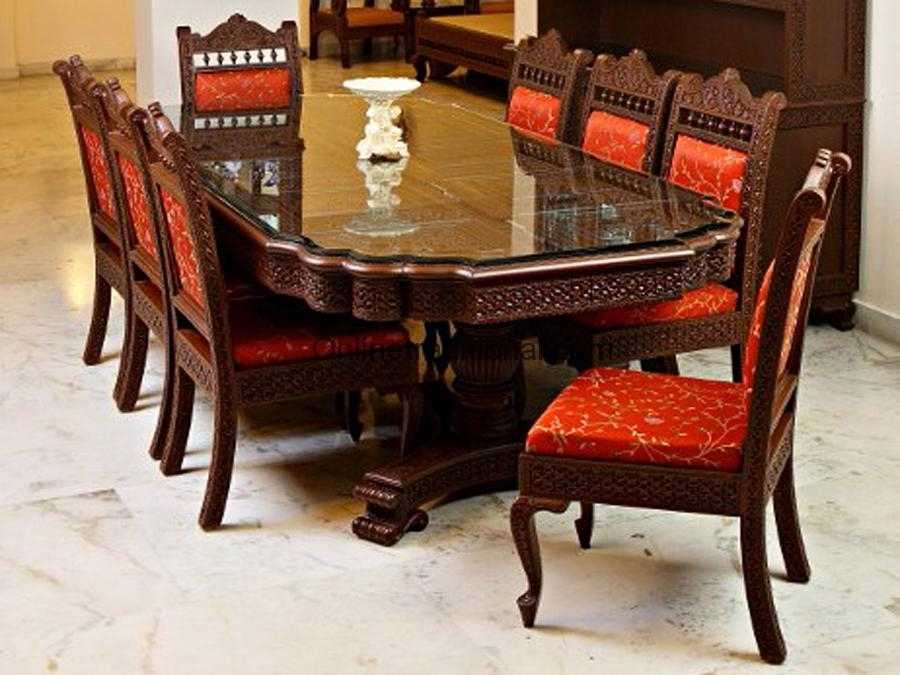 Teak Wooden Dining Table With Matching Chairs Sets For Home | Pearl In Indian Dining Room Furniture (View 9 of 25)