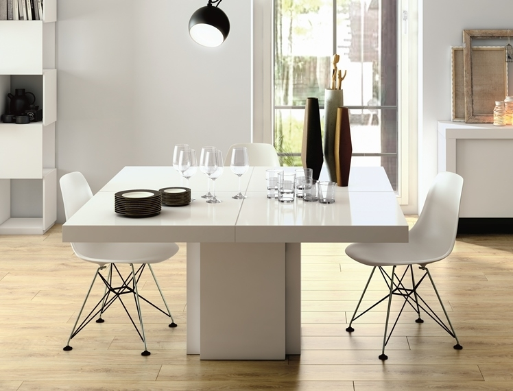 Temahome Dusk, Modern Dining Table In Gloss White Within Cream High Gloss Dining Tables (Image 21 of 25)