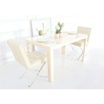 Tempered Glass In Cream Color And Mdf Dining Table With High Gloss For High Gloss Cream Dining Tables (View 17 of 25)