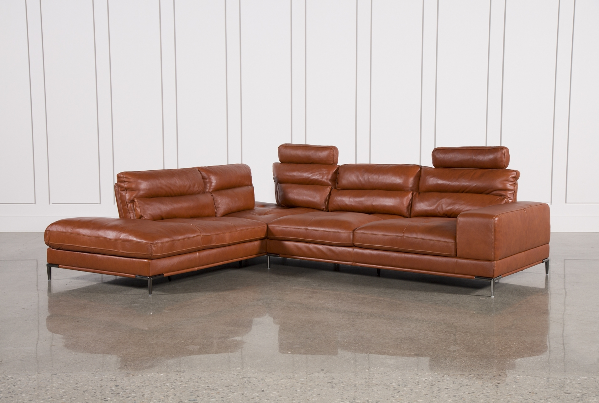 Tenny Cognac 2 Piece Left Facing Chaise Sectional W/2 Headrest Regarding Gordon 3 Piece Sectionals With Raf Chaise (Image 24 of 25)