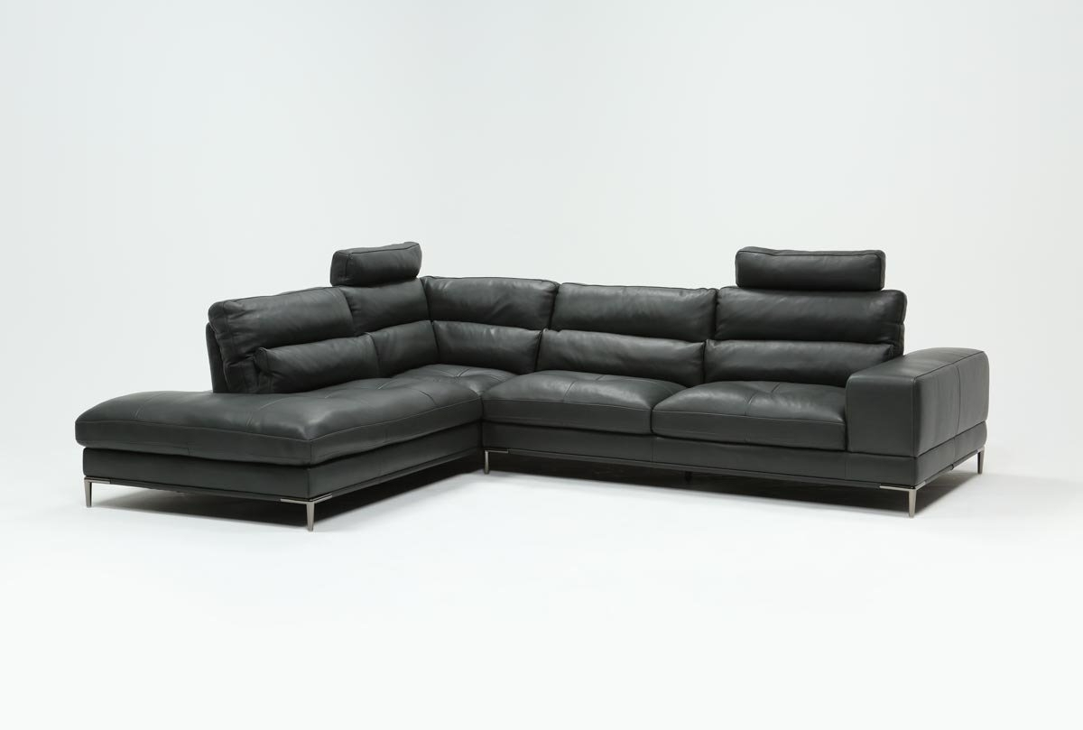 Tenny Dark Grey 2 Piece Left Facing Chaise Sectional W/2 Headrest for Tenny Cognac 2 Piece Right Facing Chaise Sectionals With 2 Headrest