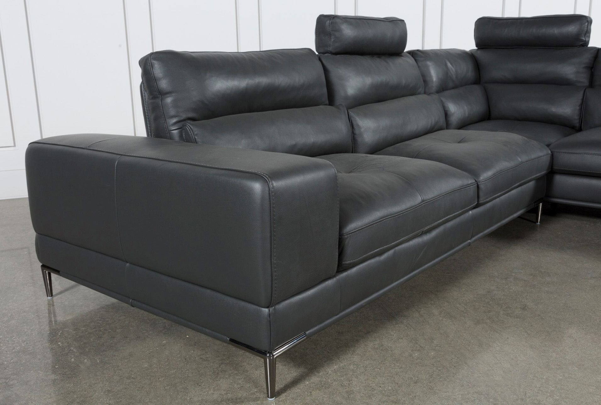 Tenny Dark Grey 2 Piece Right Facing Chaise Sectional W/2 Headrest For Tenny Dark Grey 2 Piece Left Facing Chaise Sectionals With 2 Headrest (Image 24 of 25)