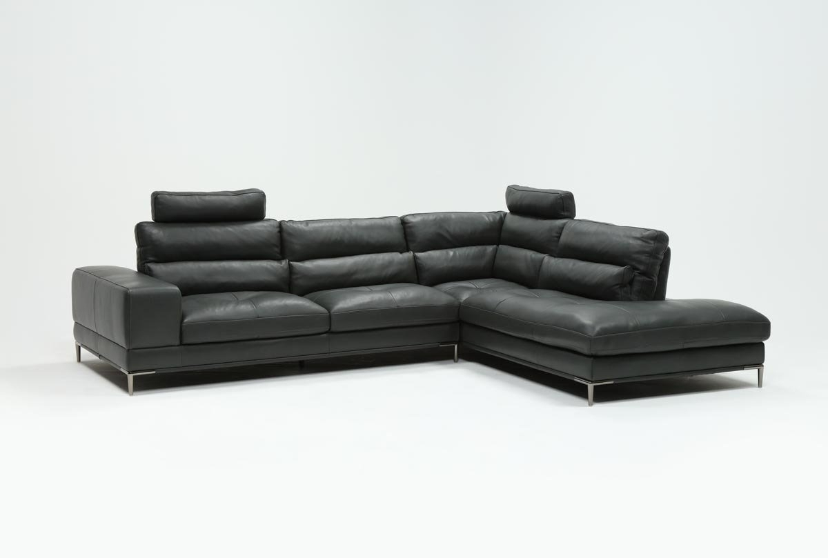 Tenny Dark Grey 2 Piece Right Facing Chaise Sectional W/2 Headrest In Tenny Dark Grey 2 Piece Left Facing Chaise Sectionals With 2 Headrest (Image 25 of 25)