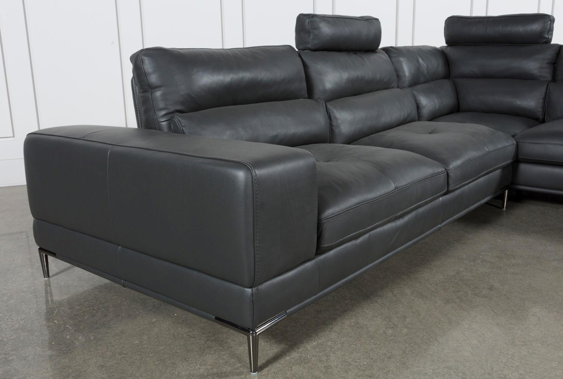 Tenny Dark Grey 2 Piece Right Facing Chaise Sectional W/2 Headrest With Tenny Dark Grey 2 Piece Right Facing Chaise Sectionals With 2 Headrest (View 3 of 25)