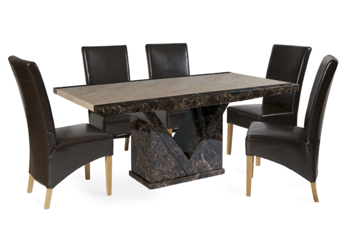 Tenore 180Cm Marble Effect Dining Table With 6 Cannes Brown Chairs Pertaining To Dining Tables And 6 Chairs (Image 25 of 25)
