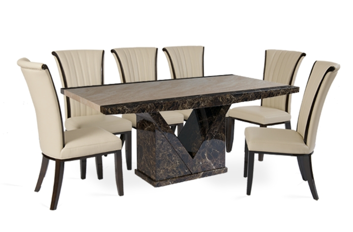 Tenore 180Cm Marble Effect Dining Table With 8 Alpine Cream Chairs Inside Marble Dining Chairs (Image 25 of 25)