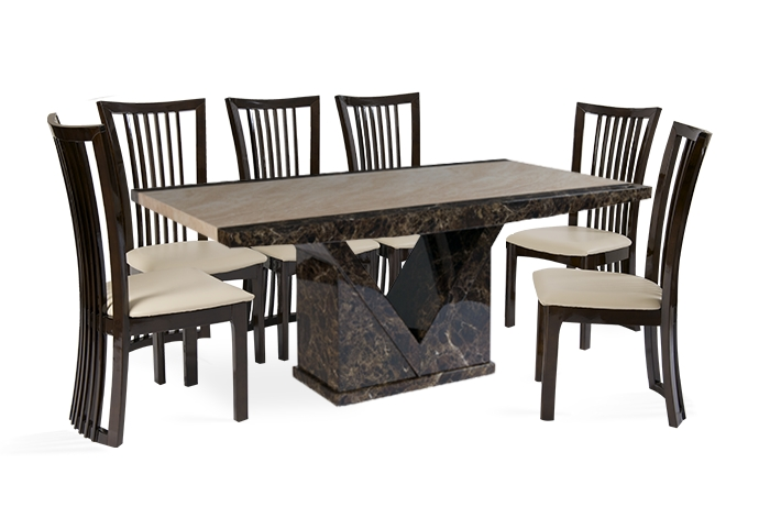 Tenore 180Cm Marble Effect Dining Table With 8 Reni Chairs | Thomas With Regard To 8 Dining Tables (View 9 of 25)