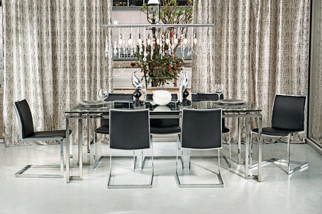 Tessa Dining Table – Mono Chrome – Modern – Dining Room – Houston For Chrome Dining Tables (Image 22 of 25)