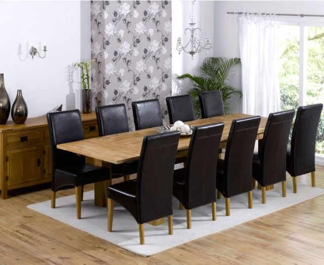 Texas Solid Oak Furniture Extended Dining Table With 10 Roma Chairs Within Roma Dining Tables And Chairs Sets (Image 23 of 25)