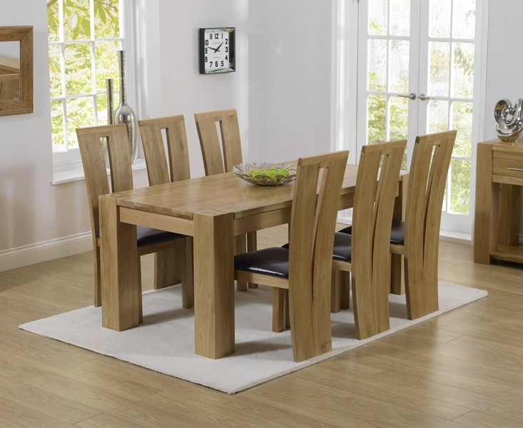 Thames 180Cm Oak Dining Table With Montreal Chairs With Chunky Solid Oak Dining Tables And 6 Chairs (Image 22 of 25)