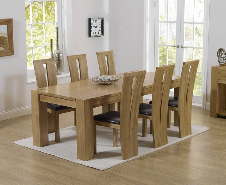 Thames 220Cm Oak Dining Table With Montreal Chairs In Oak Dining Set 6 Chairs (Image 23 of 25)