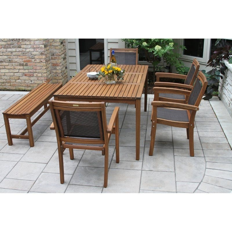 The Bay Isle Home 6 Pieces Brazilian Eucalyptus And Sling Dining Set Throughout Jaxon 6 Piece Rectangle Dining Sets With Bench & Wood Chairs (Image 25 of 25)