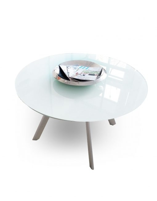 The Butterfly Expandable Round Glass Dining Table | Expand Furniture Throughout Mirror Glass Dining Tables (Image 25 of 25)