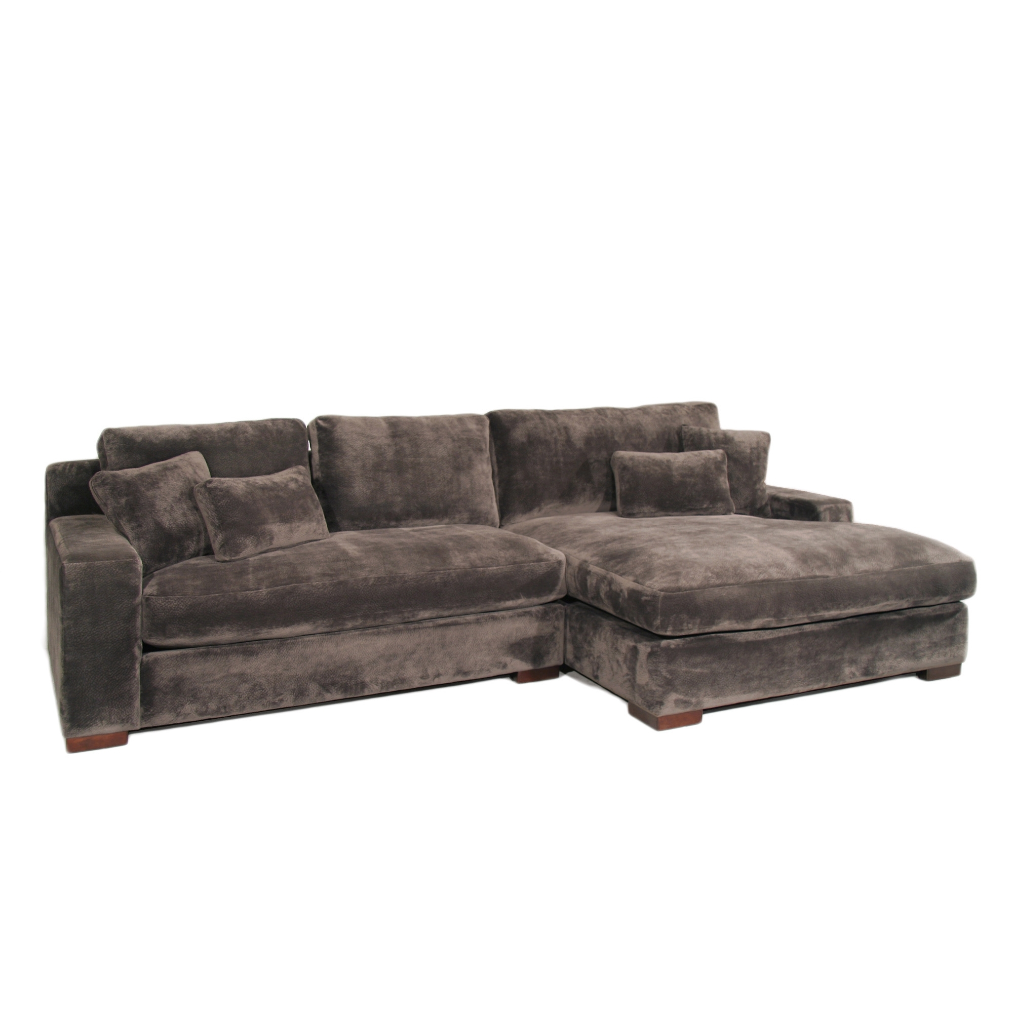 The Casual Contemporary Doris Two Piece Chaise Sectional Covered In Delano Smoke 3 Piece Sectionals (Image 23 of 25)