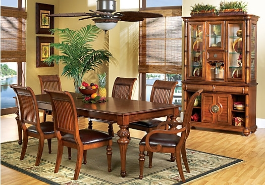 The Cindy Crawford Key West Dark Pine 5Pc Rectangle Dining Room Pertaining To Crawford Rectangle Dining Tables (Image 24 of 25)