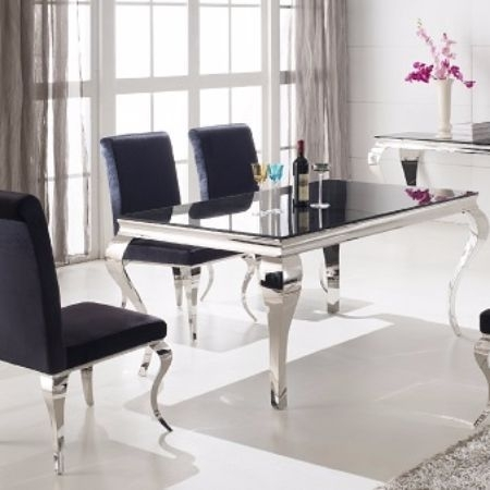 The French Contemporary Dining Table Is Sure To Impress With A Eye Throughout Caira 9 Piece Extension Dining Sets With Diamond Back Chairs (Image 17 of 25)