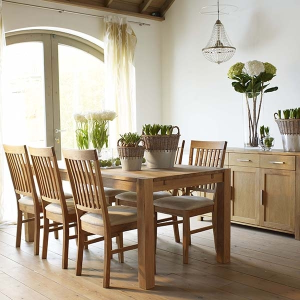 The Hannover Oak Dining Room Table, 4 Fabric Chairs And Sideboard Regarding Oak Dining Sets (View 18 of 25)