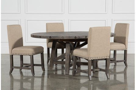 The Jaxon Grey 5 Piece Dining Collection – Which Includes A Round Throughout Jaxon Grey 5 Piece Extension Counter Sets With Fabric Stools (Image 24 of 25)