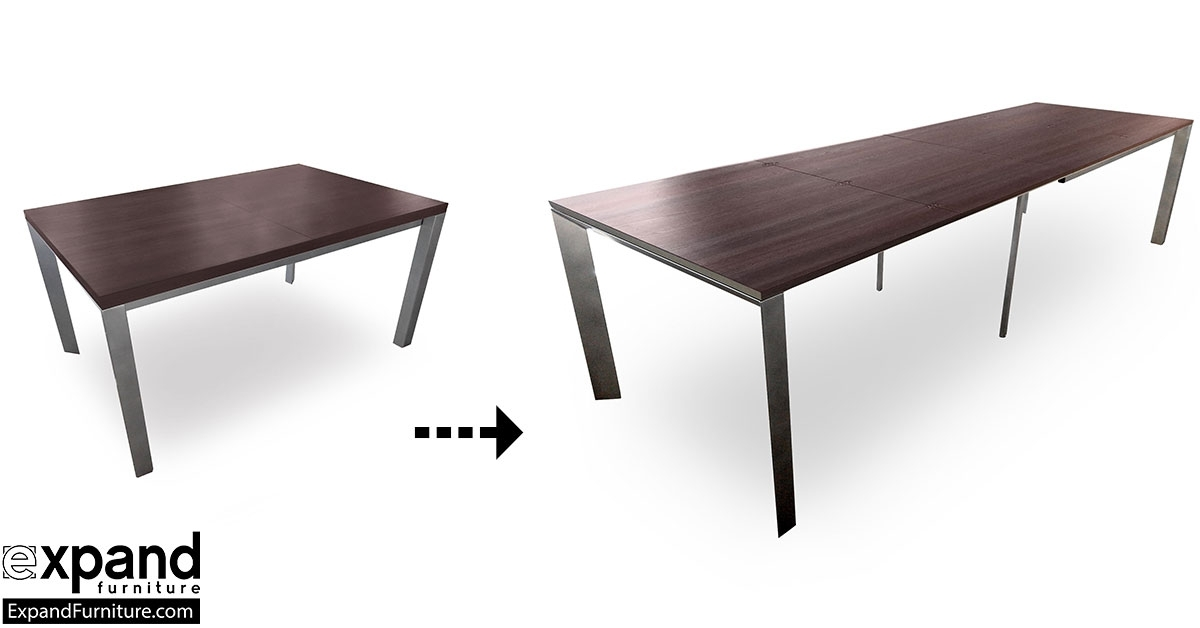 The Mega Abode Extending 14 Seat Table   Expand Furniture – Folding Throughout Extending Dining Tables With 14 Seats (Image 25 of 25)