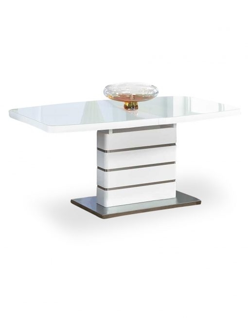 The Opulent White Glass Extendable Dining Table | Expand Furniture Regarding Glass Folding Dining Tables (Image 23 of 25)