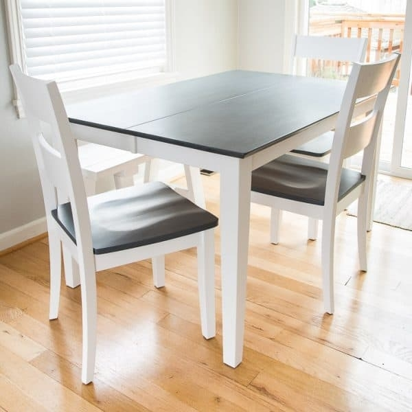 The Perfect Grey Wood Stain – Dining Table Makeover – The Handyman's Within Dining Tables With White Legs (View 19 of 25)