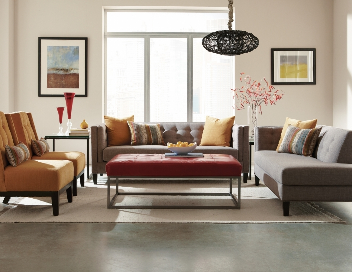 The Strathmore Collection | Mid-Century Sectional | Jonathan Louis regarding Tatum Dark Grey 2 Piece Sectionals With Laf Chaise